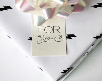 Letterpress Gift Tag - For You Script - Set of 9