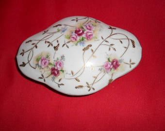 China Trinket Box with Hand Painted Gold Vines