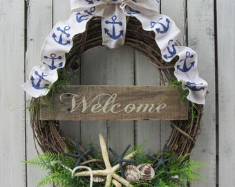 Beach Wreath - Summer Wreath - Summer Door Wreath - Cottage Wreath - Seashell Wreath - Beach Cottage Wreath - Beach Welcome Wreath - Wreath
