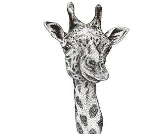 Pointilism giraffe portrait