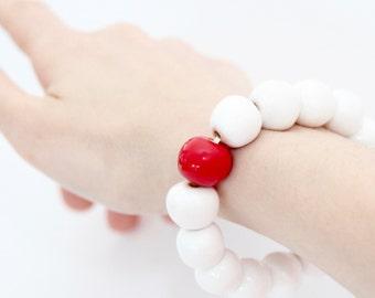 Ceramic Jewelry, Beaded Bracelet -  big bracelet, ceramic bangle, handmade by StudioLeanne, statement jewelry