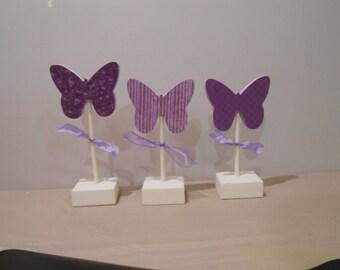 Set of 3 Butterflies Seasonal Purple Wood Crafts Blocks