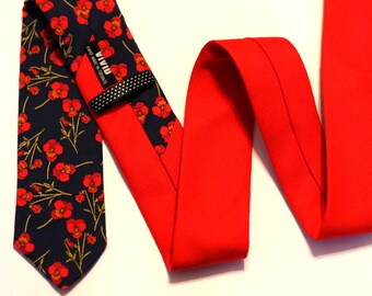 """Navy and Red Two Tone Neck Tie - Floral Tie - Red Tie - Navy Tie - Liberty of London - 2,5"""" Wide"""