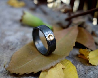 Unique wedding ring oxidized silver Gold mixed metals Man's wedding ring Handmade wedding ring black silver ring Engagement Jewelry