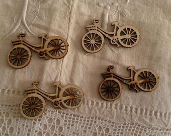 Set of 4 bikes in natural wood / scrapbooking embellishments