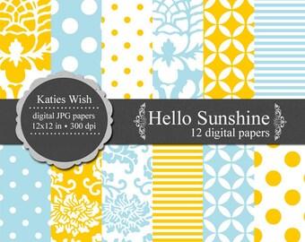 Instant Download Hello Sunshine Digital Paper  12x12 inch jpg