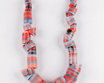 Tube bead resin necklace, striped salmon-red and grey-blue