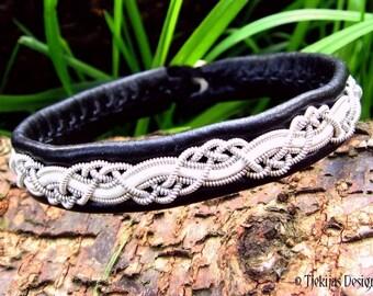 Sami Pagan Viking Bracelet Handmade HUGINN Unisex Black White Leather Cuff Bangle with Pewter Braid and Antler Closure