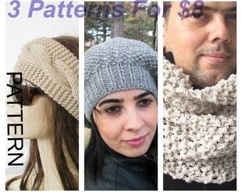 Digital Knitting Pattern 3 PATTERN COLLECTION  -  Knitting Pattern - Instant Download pattern  Hat pattern - Cowl Pattern - Headband Pattern