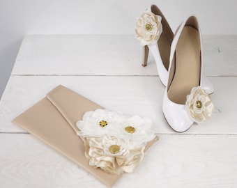 Custom Rustic Wedding Nude Clutch with Matching Nude Shoe Clips