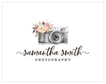 Photography Logo and watermark, Premade Logo Design, Watercolor camera Logo  191
