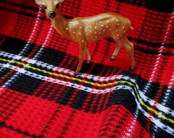 Vintage Plaid Stadium Blanket, Red Black w/ Fringe, Fall Football Game Picnic College Tailgate Lap Robe Car Blanket Classic Warmth Acrylic
