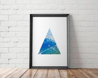 Minimalist Mountains Printable, Geometric Wall Decor, Gift for Him, Housewarming Gift