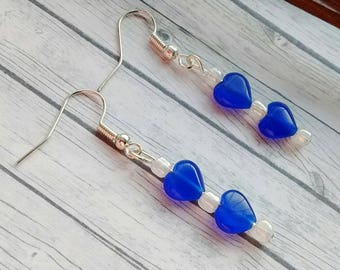 Blue Heart Earrings, Heart Earrings, Cobalt Blue Earrings, Long Blue Earrings, Royal Blue Earrings, Blue Dangle Earrings, Dark Blue Earrings