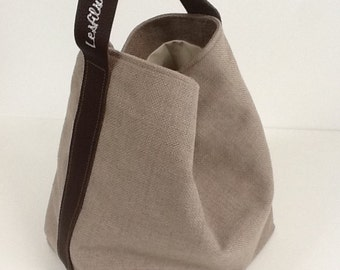 Tote bag pure linen putty, brown leather handle, worn shoulder / tote bag in putty linen, single leather handle, with pocket / sportbag