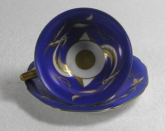 Art Deco Fine Bone China Schmiederfeld Thuringen Hand painted Blue  Mokka Cup and Saucer Stunning