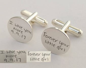 Father of the Bride Cufflinks,Personalized Handwriting Cufflinks,Memorial Signature Cufflinks,Handwritten Groom Cufflink,Father of the Groom