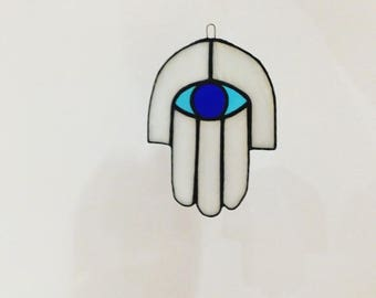 Hamsa Hand, Third Eye, Evil Eye, Stained glass Hamsa Hand