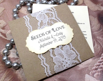 Rustic Wedding Favors - Wildflower Seeds - Lace - Personalized - 10 Seed Packets - Seeds of love