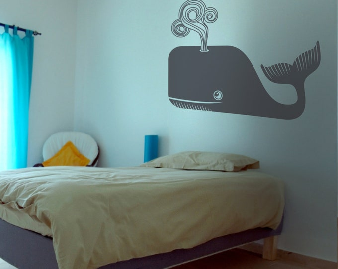 whale wall decal, cute whale wall sticker, friendly whale decor, children's room, bedroom whale art, ocean animal art