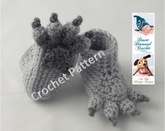 Crochet Pattern 074 - Wolf Paw Baby Booties - 5 Sizes