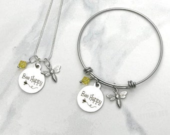 Bee Happy Necklace | Expandable Bangle Bracelet | Honey Bee | Bee Keeper | Save the Bees | Personalized Charm Jewelry FREE SHIPPING