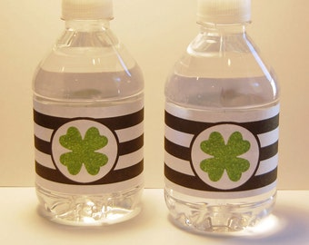 Clover St. Patrick's Day Water Bottle Labels ~ Instant Download