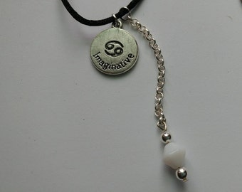 Cancer Pendant with White & Silver Beaded Chain Accent