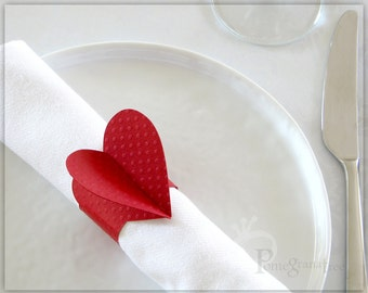 Wedding Decorations, Wedding Table Decor, Paper Napkin Rings, Red Heart Decoration, Valentine's Day , Red Paper Napkin Rings Set of 4 HTD01