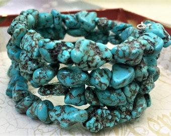 Chunky Turquoise Wrap Bracelet Wrap Bracelet Turquoise Bracelet Blue wrap Bracelet Cowgirl Bracelet Western Wedding Jewelry Turquoise Cuff