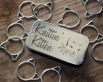 Large Snag Free Silver Cat Stitch Markers with Storage Tin, Knittin' Kitten Stitch Markers, Gifts for Knitters, Gift for Mom, Knitting Tools