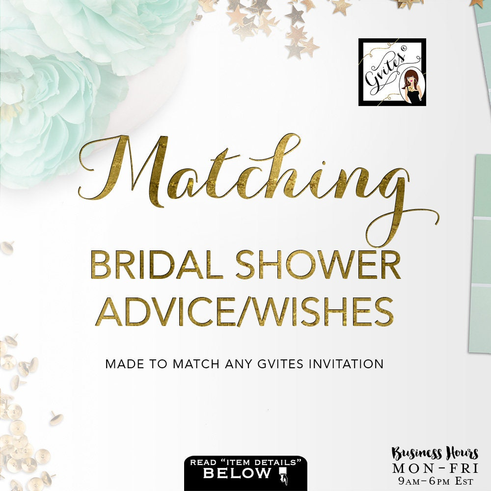 matching advice card well wishes for bridal shower add on to coordinate with any gvites invitation design turnaround 3 business days