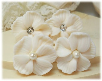 White Hibiscus Bridal Earrings Stud or Clip On - Hibiscus Jewelry