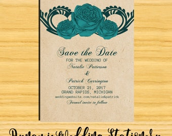 Gothic Swirl Roses Digital DIY Printable Wedding Save the Date Announcement