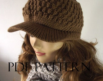 KNITTING HAT PATTERN Newsboy Hat - Claire Newsboy Hat - Knitted Brim Cap winter woman Hat Pattern Pdf Pattern Instant Download