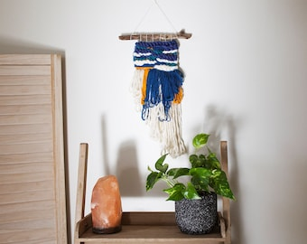 Woven Wall Hanging // blue, white & mustard
