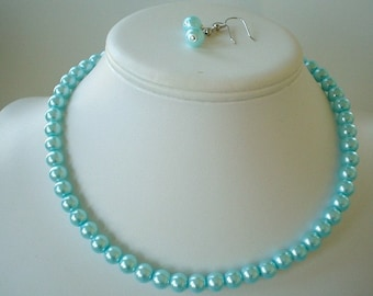 Single Strand Aqua Blue Pearl Beaded Necklace and Earring Set    Great Brides or Bridesmaid Gifts