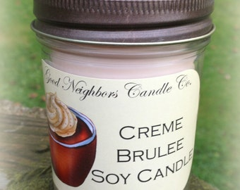 Creme Brulee, 8 Ounce Jar SOY Candle, Tan, Sweet Candle, Bronze Daisy Cut Lid