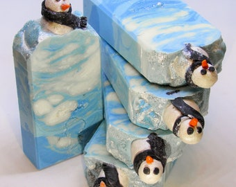 Let it snow, handmade soap, cold process soap, spa soap, avocado soap, blue soap with snowmen, luxury skin care, gift soap, luscious feeling