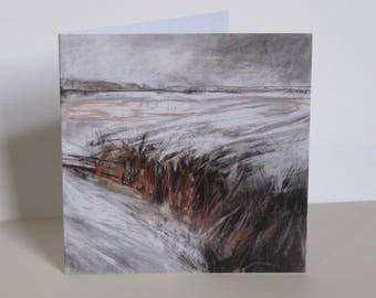 Art greeting card 'Midwinter Fire', landscape, Yorkshire, fields, fine art, snow, winter, autumn, mixed media, pastel, charcoal, graphite