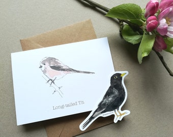 Long-tailed Tit Watercolour card • Bird card • Bird lover card • British Birds print • Long-tailed tit print