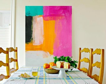 Large Art | Large Geometric Painting | ORIGINAL Modern Art Painting | Pink and orange | Home decor | custom Canvas | MADE to ORDER