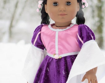 18 Inch Doll Pink Princess Dress - Rapunzel Medieval Doll Dress - Renaissance Doll Dress -  American Made Girl Doll Clothes
