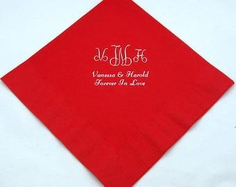 375 Personalized monogram beverage napkins wedding favors bridal shower baby shower custom printed wedding napkins any occasion nakins