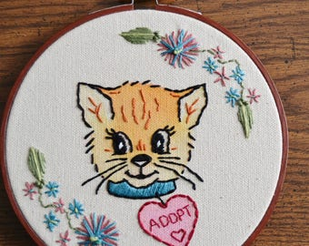 Adopt a Cat Friend Embroidered Wall Hanging Hoop