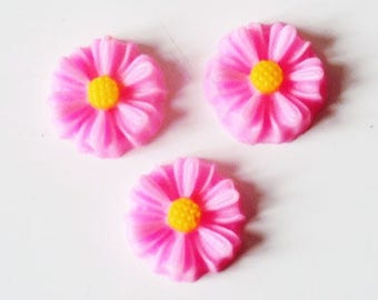 Cabochon 8mm white Daisy