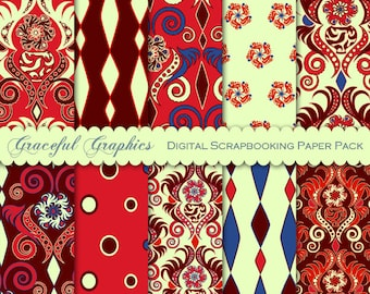 Scrapbook Paper Pack Digital Scrapbooking Background Papers DAMASK 10 8.5 x 11 Exotic MOROCCAN Red Blue Burgundy 1846gg