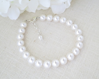 Swarovski pearl bracelet, Pearl wedding bracelet, Simple pearl bridal bracelet, Pearl wedding jewelry, Bridesmaids bracelet