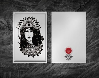 Portrait Tattoo Flash Art Print. Card 10 x 15 cm