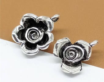 5 Sterling Silver Rose Charms, 925 Silver Rose Charms, Sterling Silver Flower Charms, 925 Silver Flower Charms - TF573